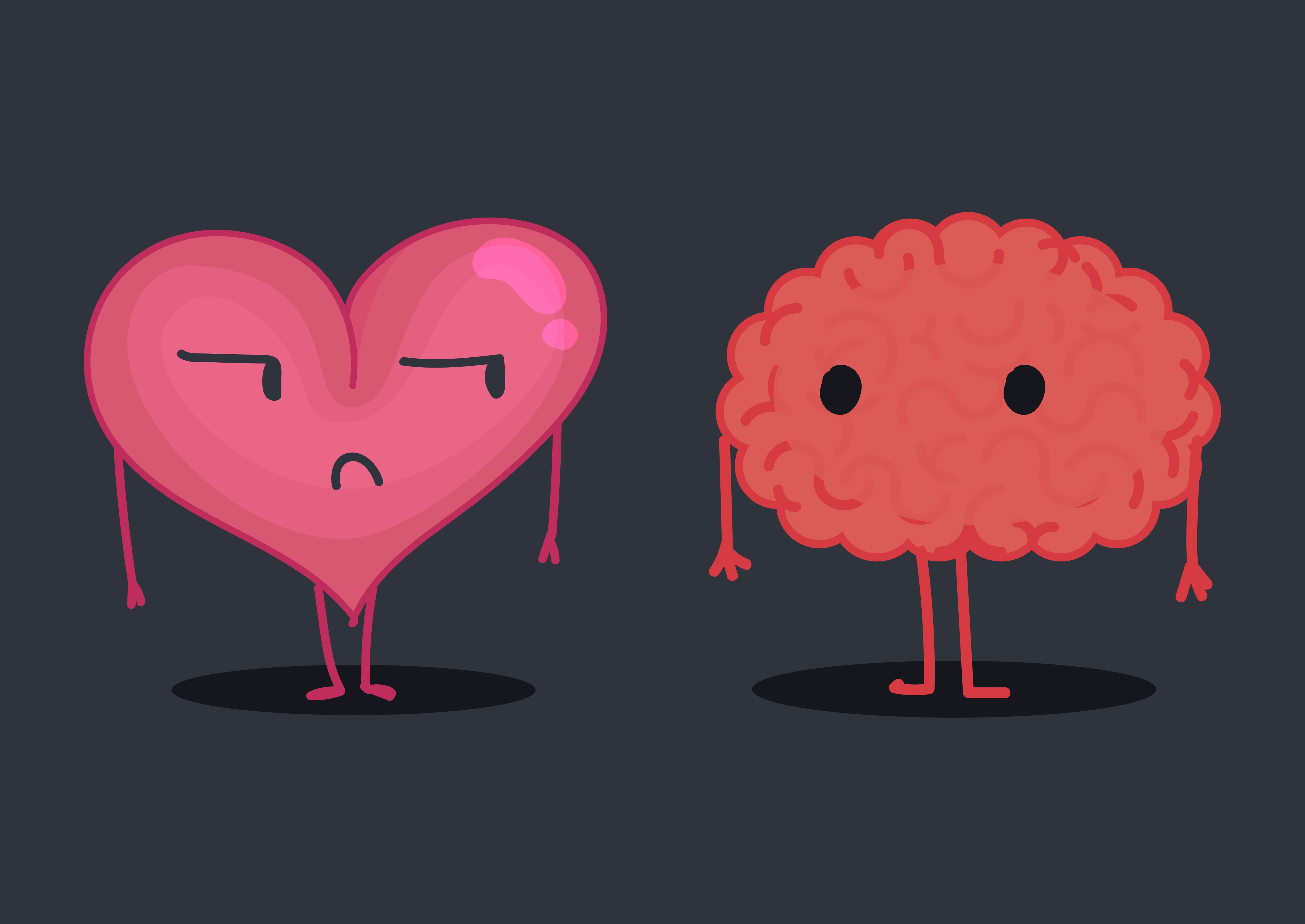 Brain & heart character illustration